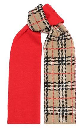 Детский шарф BURBERRY красного цвета, арт. 8033811 | Фото 1