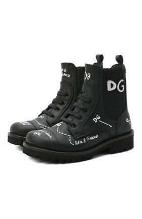 Детские кожаные ботинки DOLCE & GABBANA черного цвета, арт. D10983/AH813/24-28 | Фото 1
