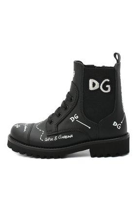 Детские кожаные ботинки DOLCE & GABBANA черного цвета, арт. D10983/AH813/24-28 | Фото 2