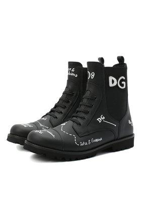 Детские кожаные ботинки DOLCE & GABBANA черного цвета, арт. D10983/AH813/37-39 | Фото 1