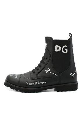 Детские кожаные ботинки DOLCE & GABBANA черного цвета, арт. D10983/AH813/37-39 | Фото 2