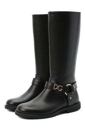 Детские кожаные сапоги DOLCE & GABBANA черного цвета, арт. D10986/AW998/29-36 | Фото 1