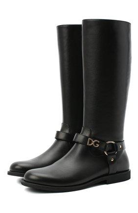 Детские кожаные сапоги DOLCE & GABBANA черного цвета, арт. D10986/AW998/37-39 | Фото 1