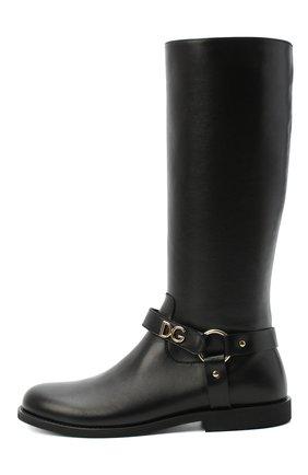Детские кожаные сапоги DOLCE & GABBANA черного цвета, арт. D10986/AW998/37-39 | Фото 2