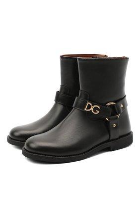 Детские кожаные ботинки DOLCE & GABBANA черного цвета, арт. D10987/AW998/29-36 | Фото 1