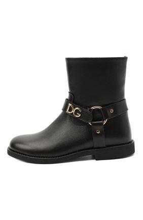 Детские кожаные ботинки DOLCE & GABBANA черного цвета, арт. D10987/AW998/29-36 | Фото 2