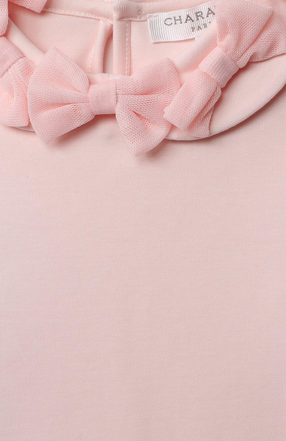 Детская хлопковый лонгслив CHARABIA розового цвета, арт. S15022 | Фото 3 (Рукава: Длинные; Материал внешний: Хлопок; Ростовка одежда: 3 года | 98 см, 4 года | 104 см, 5 лет | 110 см, 6 лет | 116 см, 8 лет | 128 см)