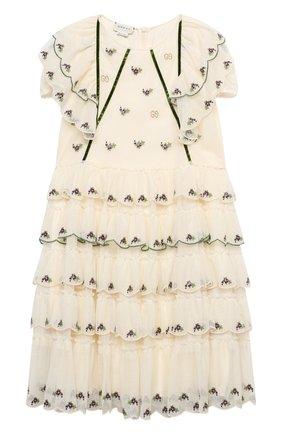 Детское хлопковое платье GUCCI белого цвета, арт. 621091/ZAE5I   Фото 1