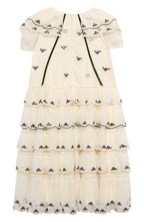 Детское хлопковое платье GUCCI белого цвета, арт. 621091/ZAE5I   Фото 2