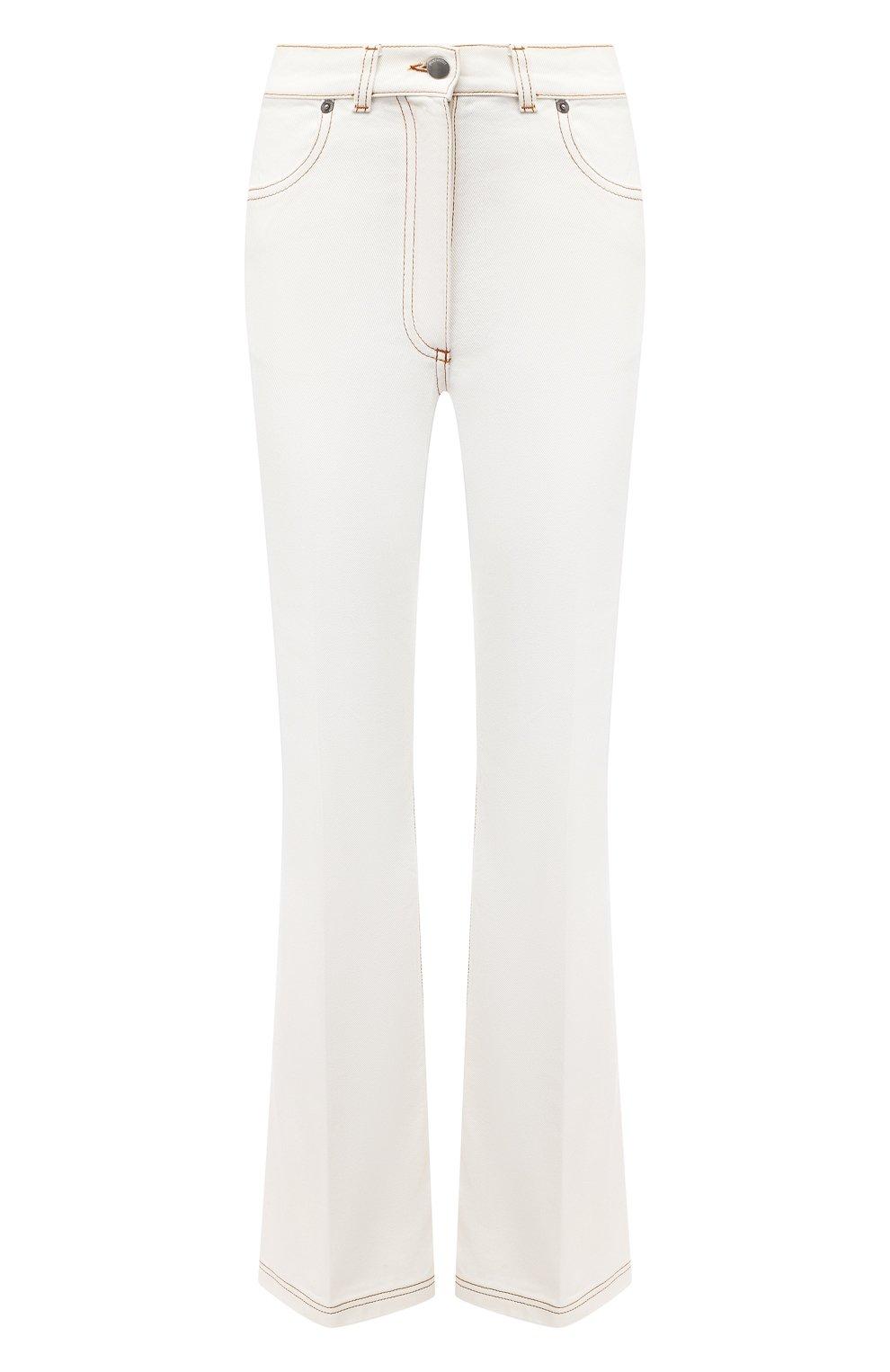 Женские джинсы JW ANDERSON белого цвета, арт. TR0105 PG0178   Фото 1 (Кросс-КТ: Деним; Длина (брюки, джинсы): Стандартные; Материал внешний: Хлопок; Стили: Классический)