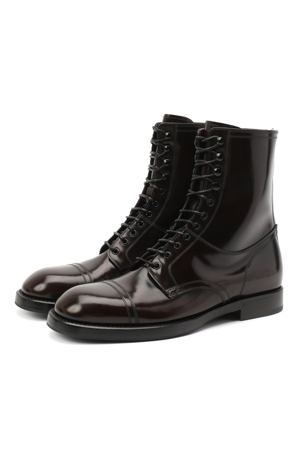 Мужские кожаные ботинки DOLCE & GABBANA темно-коричневого цвета, арт. A60318/A1203   Фото 1