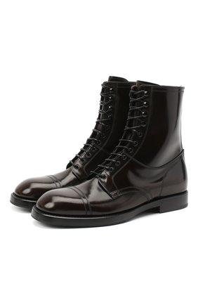 Мужские кожаные ботинки DOLCE & GABBANA темно-коричневого цвета, арт. A60318/A1203 | Фото 1