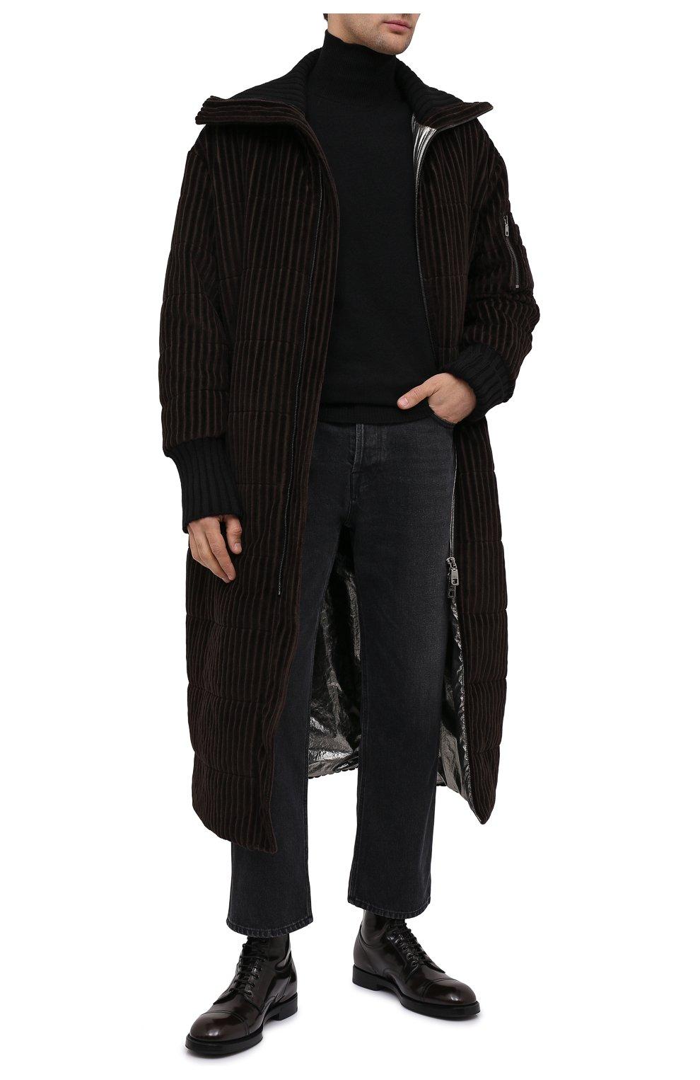 Мужские кожаные ботинки DOLCE & GABBANA темно-коричневого цвета, арт. A60318/A1203   Фото 2