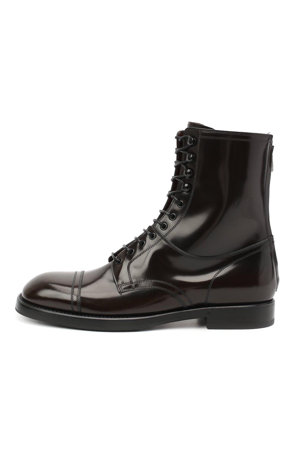 Мужские кожаные ботинки DOLCE & GABBANA темно-коричневого цвета, арт. A60318/A1203   Фото 3