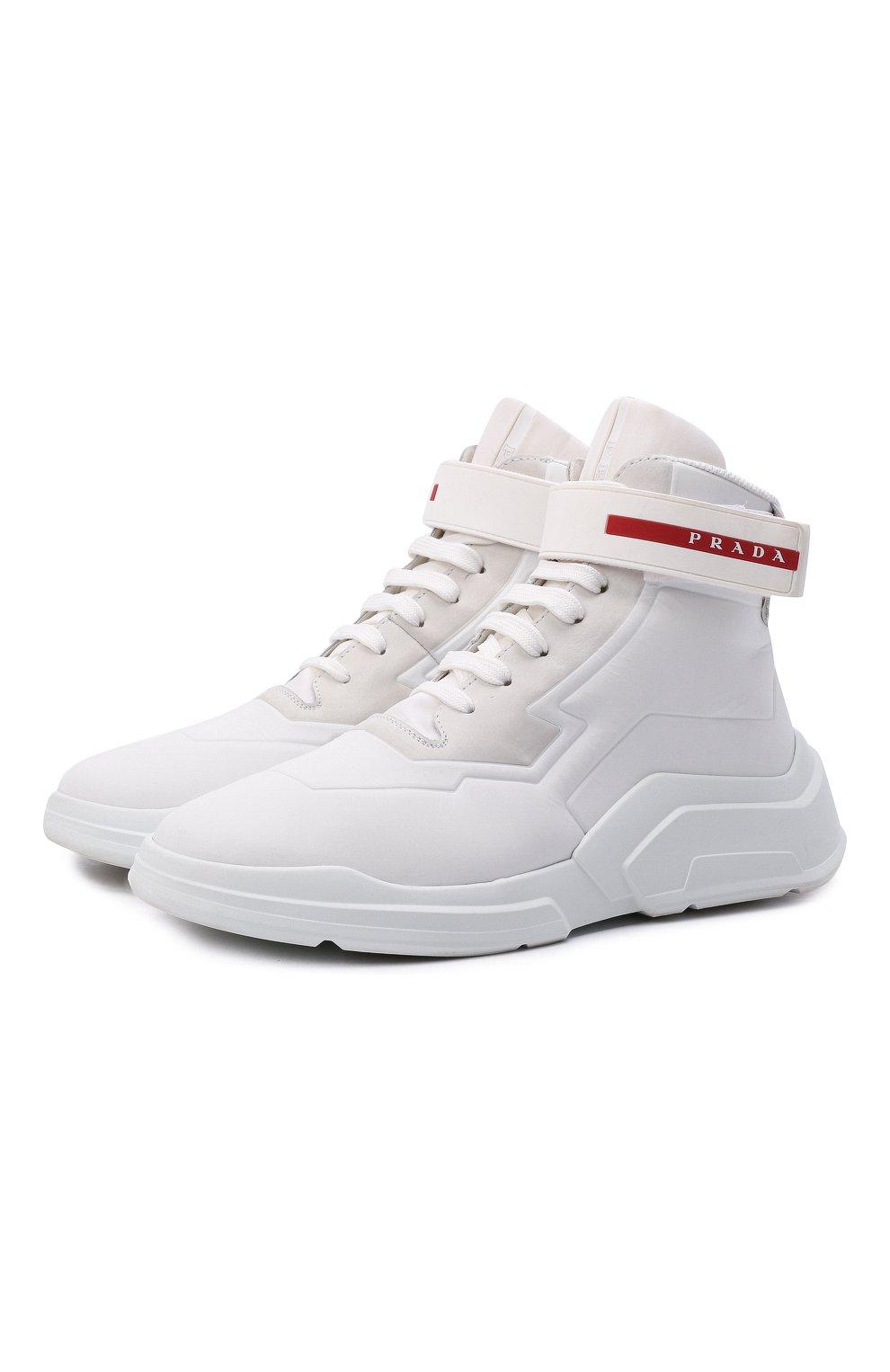 Женские кроссовки PRADA белого цвета, арт. 3T6443-HEC-F0009-010 | Фото 1