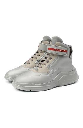 Женские кроссовки PRADA серебряного цвета, арт. 3T6443-HEC-F0518-010   Фото 1