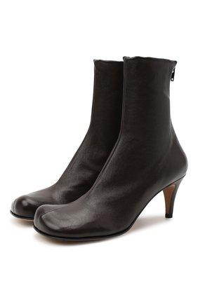 Женские кожаные ботильоны BOTTEGA VENETA темно-коричневого цвета, арт. 610238/VBS00 | Фото 1