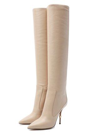 Женские кожаные ботфорты cardinale DOLCE & GABBANA бежевого цвета, арт. CU0677/AW695   Фото 1 (Подошва: Плоская; Материал внутренний: Натуральная кожа; Каблук высота: Высокий; Высота голенища: Высокие; Каблук тип: Шпилька)