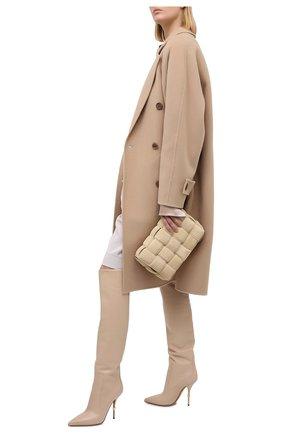 Женские кожаные ботфорты cardinale DOLCE & GABBANA бежевого цвета, арт. CU0677/AW695   Фото 2 (Подошва: Плоская; Материал внутренний: Натуральная кожа; Каблук высота: Высокий; Высота голенища: Высокие; Каблук тип: Шпилька)