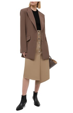 Женская хлопковая юбка TIBI бежевого цвета, арт. P220MY5176 | Фото 2
