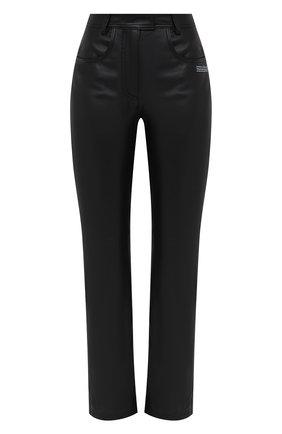 Женские кожаные брюки OFF-WHITE черного цвета, арт. 0WJB011E20LEA0011000 | Фото 1