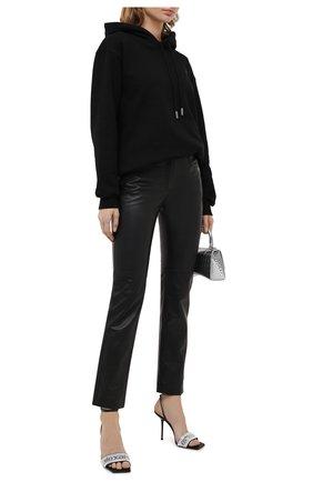 Женские кожаные брюки OFF-WHITE черного цвета, арт. 0WJB011E20LEA0011000 | Фото 2