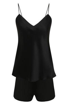 Женская шелковая пижама SIMONEPERELE черного цвета, арт. 15B900-15B640 | Фото 1