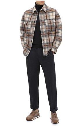 Мужские хлопковые брюки KNT серого цвета, арт. UPS0102J02T31 | Фото 2 (Длина (брюки, джинсы): Стандартные; Материал внешний: Хлопок; Случай: Повседневный; Стили: Кэжуэл)