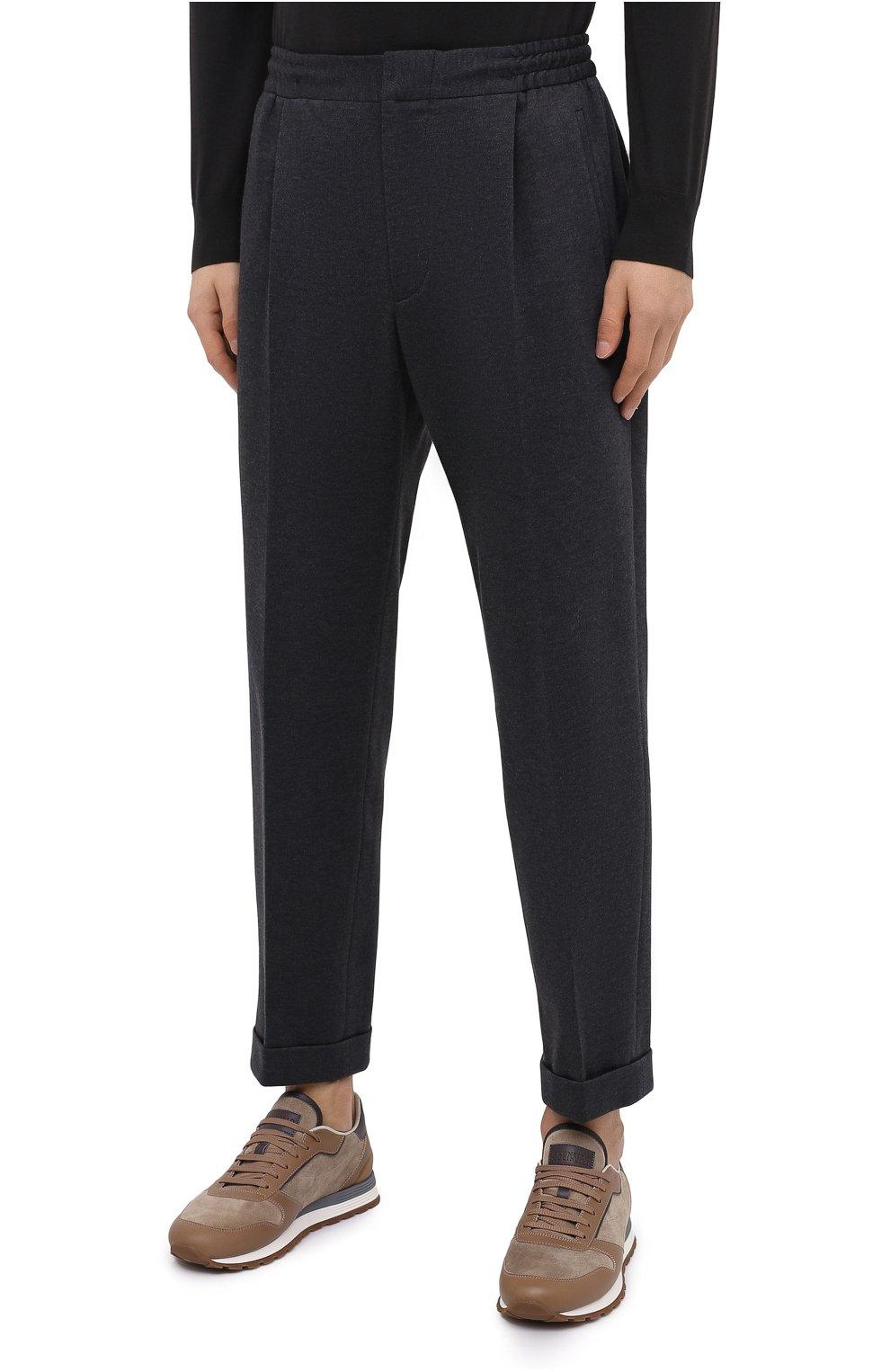 Мужские хлопковые брюки KNT серого цвета, арт. UPS0102J02T31 | Фото 3 (Длина (брюки, джинсы): Стандартные; Случай: Повседневный; Материал внешний: Хлопок; Стили: Кэжуэл)