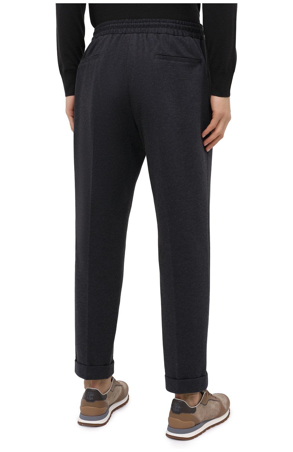 Мужские хлопковые брюки KNT серого цвета, арт. UPS0102J02T31 | Фото 4 (Длина (брюки, джинсы): Стандартные; Случай: Повседневный; Материал внешний: Хлопок; Стили: Кэжуэл)