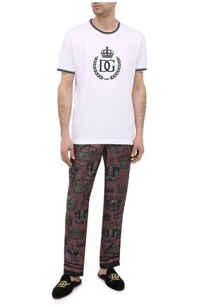 Мужские шелковые домашние брюки DOLCE & GABBANA бордового цвета, арт. GYB0HT/FI101 | Фото 2