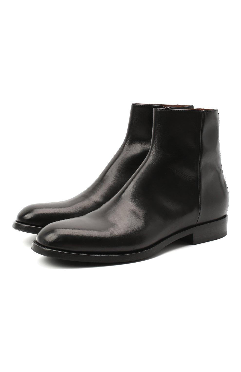 Мужские кожаные сапоги PANTANETTI черного цвета, арт. 14020E | Фото 1