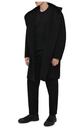 Мужской пальто из шерсти и кашемира KAZUYUKI KUMAGAI черного цвета, арт. AC03-202   Фото 2