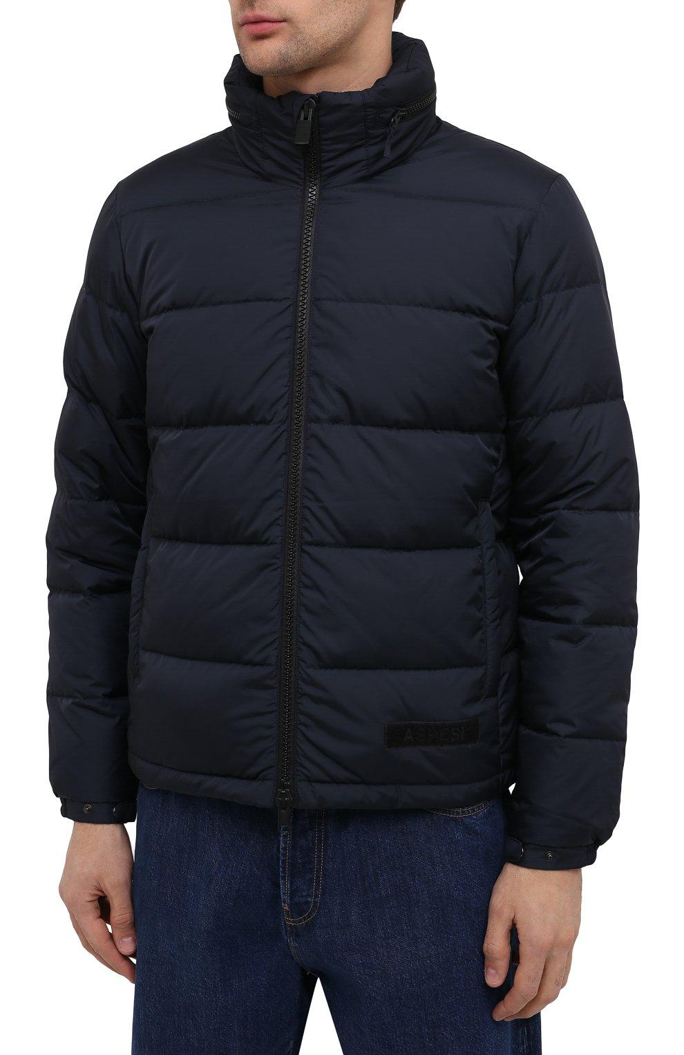 Мужская пуховая куртка ASPESI темно-синего цвета, арт. W0 I I018 7954 | Фото 3 (Кросс-КТ: Куртка, Пуховик; Мужское Кросс-КТ: пуховик-короткий, Пуховик-верхняя одежда, Верхняя одежда; Рукава: Длинные; Материал внешний: Синтетический материал; Материал подклада: Синтетический материал; Длина (верхняя одежда): Короткие; Стили: Кэжуэл)