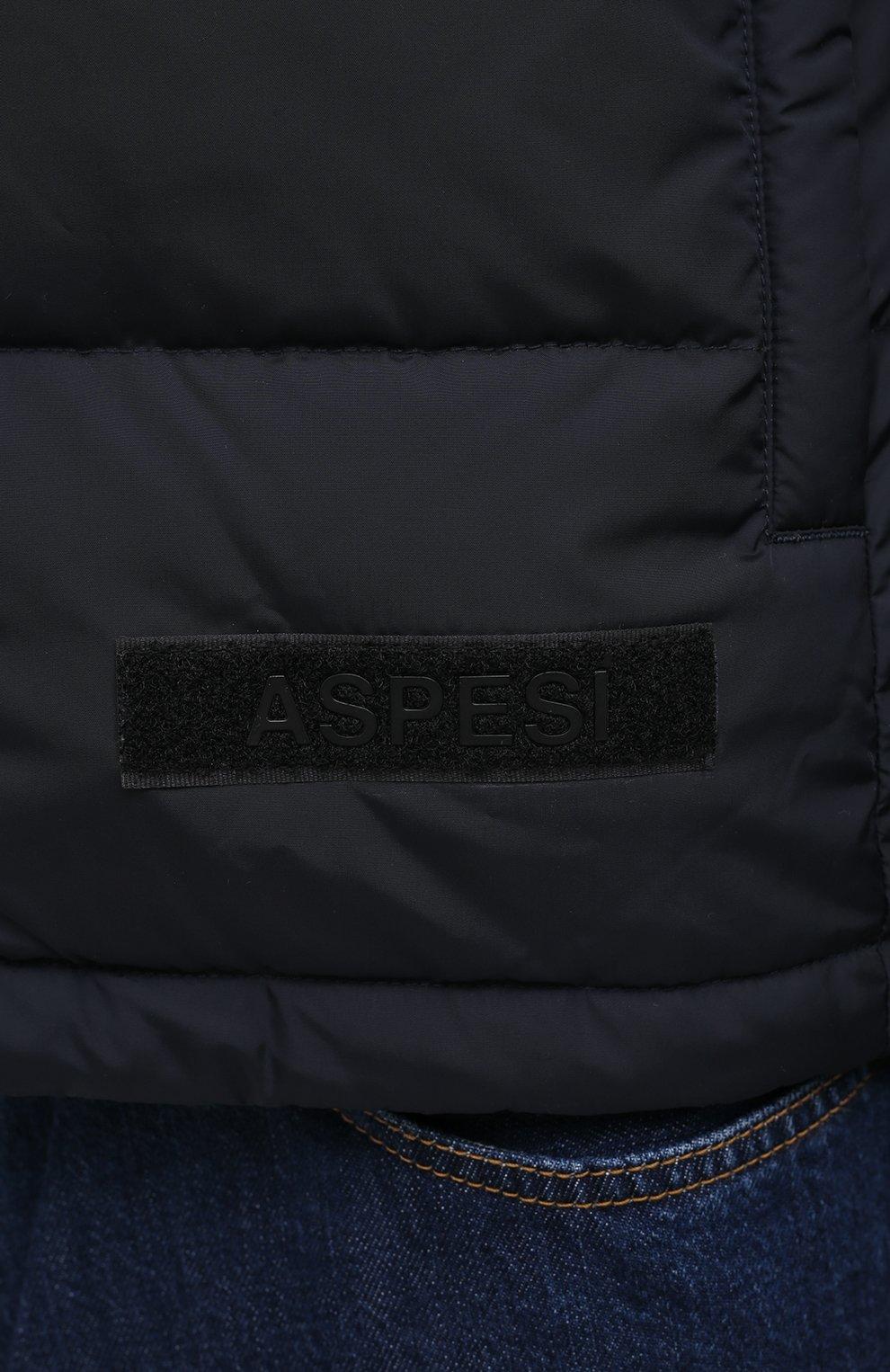 Мужская пуховая куртка ASPESI темно-синего цвета, арт. W0 I I018 7954 | Фото 5 (Кросс-КТ: Куртка, Пуховик; Мужское Кросс-КТ: пуховик-короткий, Пуховик-верхняя одежда, Верхняя одежда; Рукава: Длинные; Материал внешний: Синтетический материал; Материал подклада: Синтетический материал; Длина (верхняя одежда): Короткие; Стили: Кэжуэл)