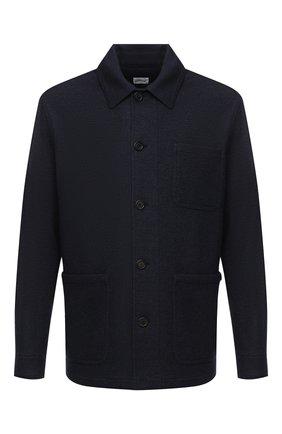 Мужская куртка из кашемира и шерсти BRIONI темно-синего цвета, арт. UJFM0L/09616 | Фото 1 (Материал внешний: Шерсть; Рукава: Длинные; Мужское Кросс-КТ: Верхняя одежда, Куртка-верхняя одежда, шерсть и кашемир; Стили: Кэжуэл; Кросс-КТ: Куртка)