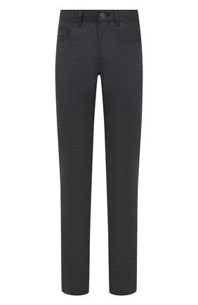 Мужские шерстяные брюки BRIONI темно-серого цвета, арт. SPNK0L/09AK9/STELVI0 | Фото 1 (Длина (брюки, джинсы): Стандартные; Материал внешний: Шерсть; Случай: Повседневный; Стили: Кэжуэл)