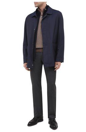 Мужские шерстяные брюки BRIONI темно-серого цвета, арт. SPNK0L/09AK9/STELVI0 | Фото 2 (Длина (брюки, джинсы): Стандартные; Материал внешний: Шерсть; Случай: Повседневный; Стили: Кэжуэл)
