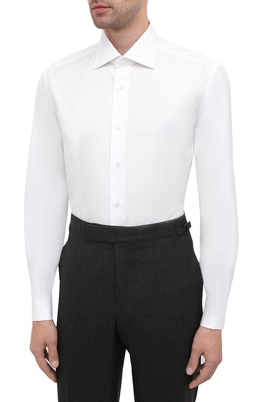 Мужская хлопковая сорочка BRIONI белого цвета, арт. RCB20L/PZ001 | Фото 3