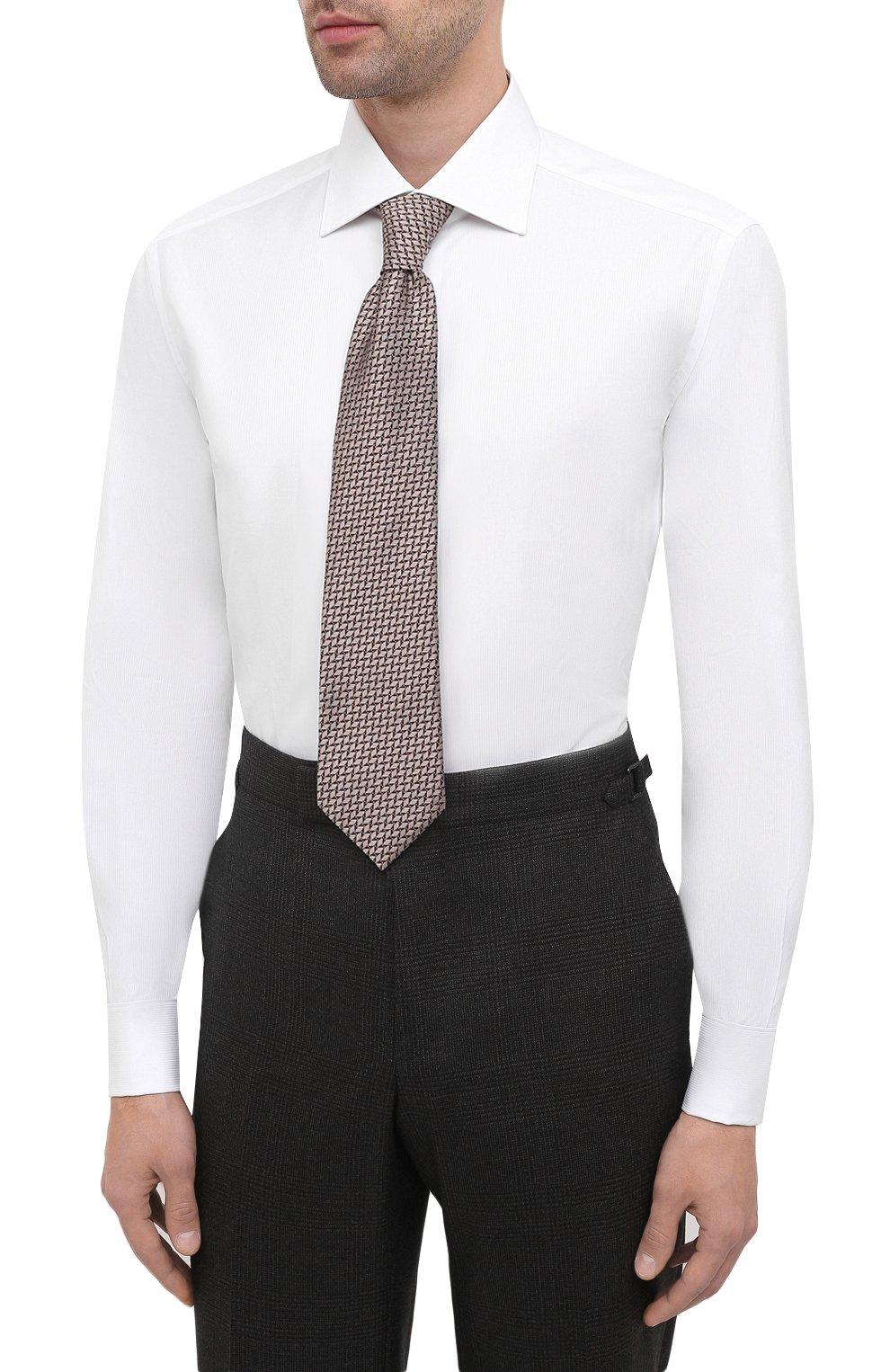 Мужская хлопковая сорочка BRIONI белого цвета, арт. RCB20L/PZ001 | Фото 4