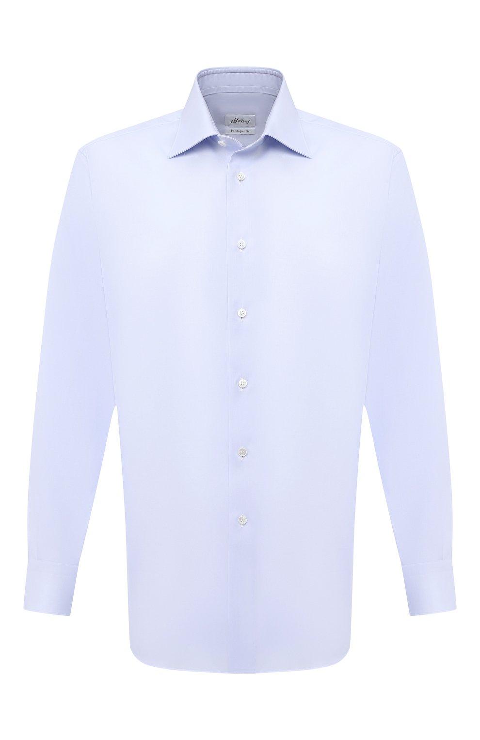 Мужская хлопковая сорочка BRIONI голубого цвета, арт. RCB10M/P7003   Фото 1