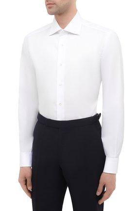 Мужская хлопковая сорочка BRIONI белого цвета, арт. RCB10M/P7003 | Фото 3