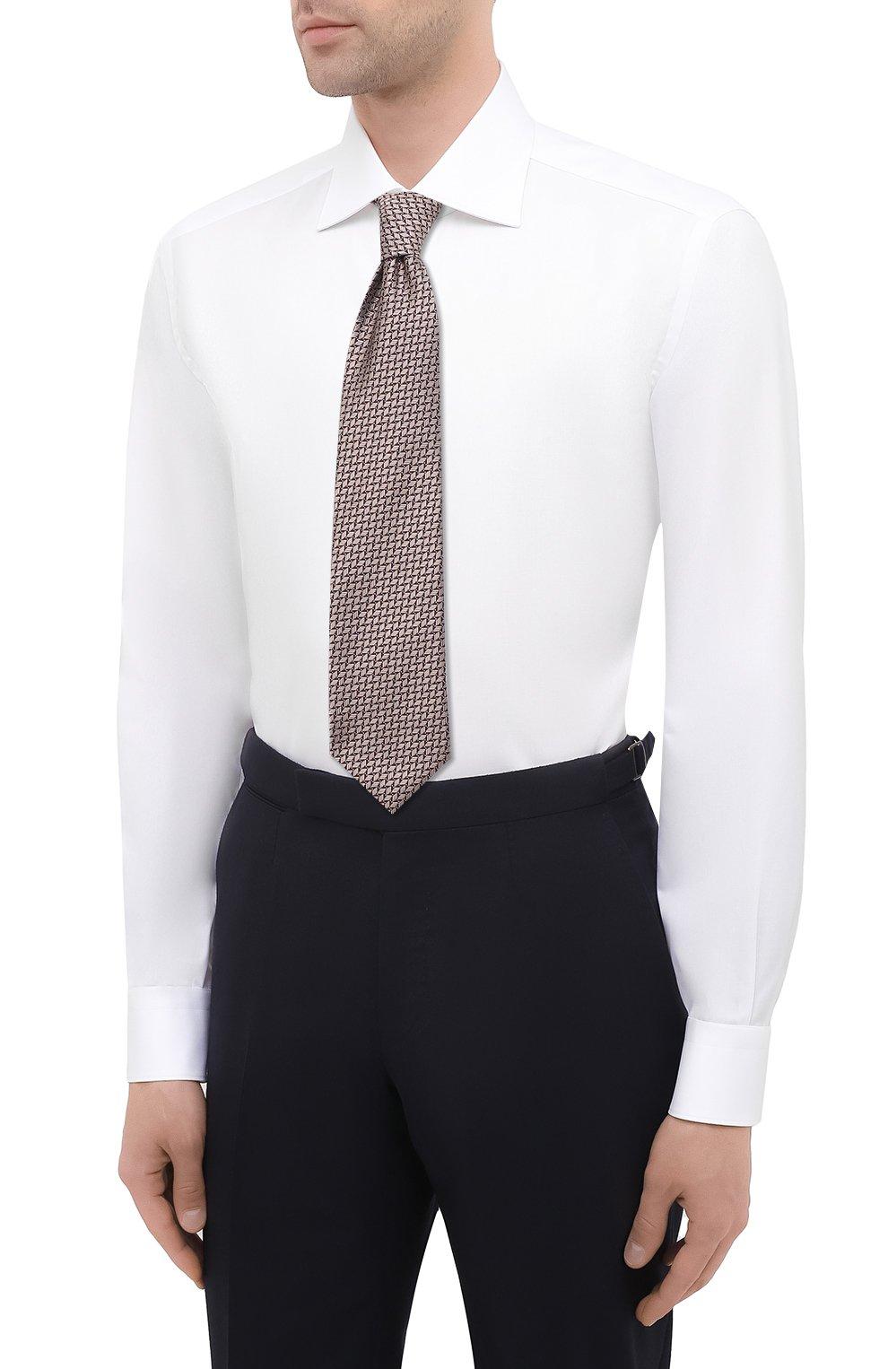 Мужская хлопковая сорочка BRIONI белого цвета, арт. RCB10M/P7003 | Фото 4