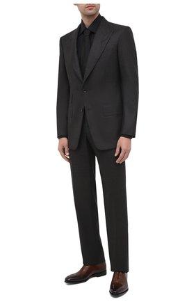 Мужская хлопковая сорочка BRIONI черного цвета, арт. RCA20M/0906N | Фото 2