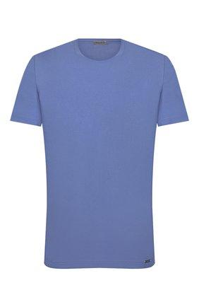 Мужская хлопковая футболка HANRO синего цвета, арт. 075050 | Фото 1 (Материал внешний: Хлопок; Длина (для топов): Стандартные; Мужское Кросс-КТ: Футболка-белье; Рукава: Короткие; Кросс-КТ: домашняя одежда)