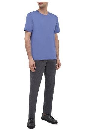 Мужская хлопковая футболка HANRO синего цвета, арт. 075050 | Фото 2 (Материал внешний: Хлопок; Длина (для топов): Стандартные; Мужское Кросс-КТ: Футболка-белье; Рукава: Короткие; Кросс-КТ: домашняя одежда)