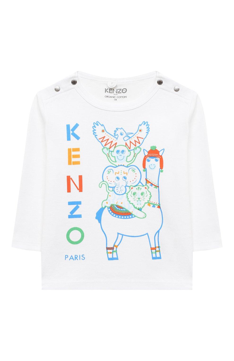 Детский хлопковый лонгслив KENZO разноцветного цвета, арт. KR10503 | Фото 1