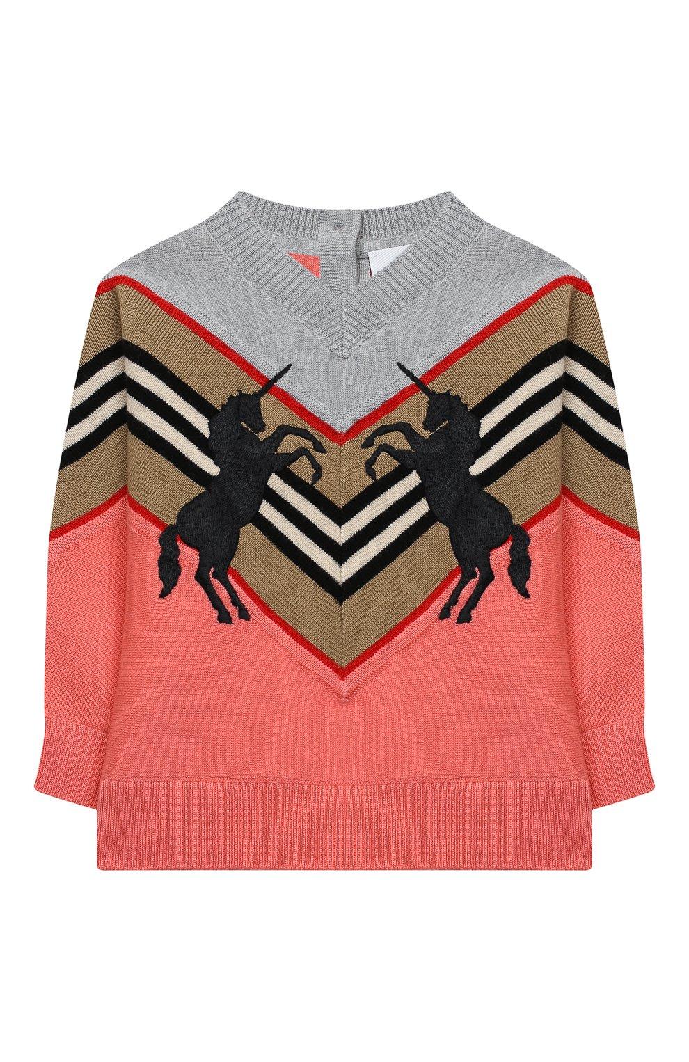 Детский шерстяной пуловер BURBERRY разноцветного цвета, арт. 8032584 | Фото 1