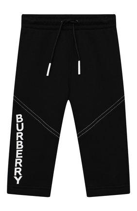 Детские хлопковые брюки BURBERRY черного цвета, арт. 8032835 | Фото 1