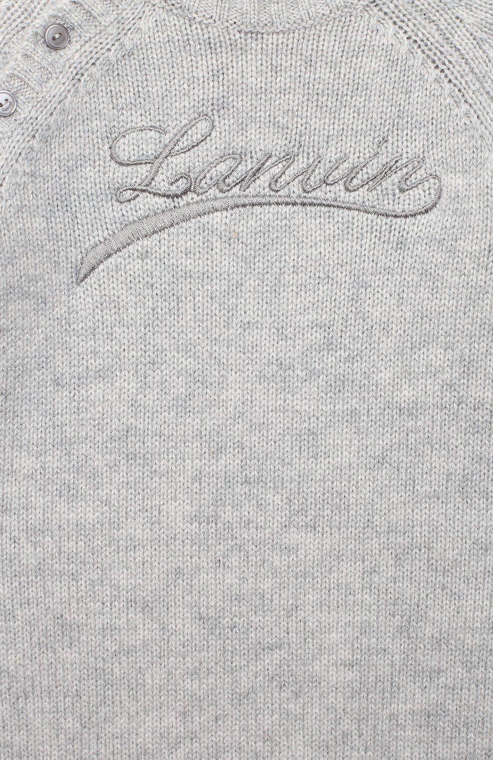Детский шерстяной комбинезон LANVIN серого цвета, арт. N94000 | Фото 3